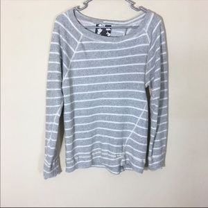 YFB Open Back Pullover Sweashirt Top Stripe Gray M
